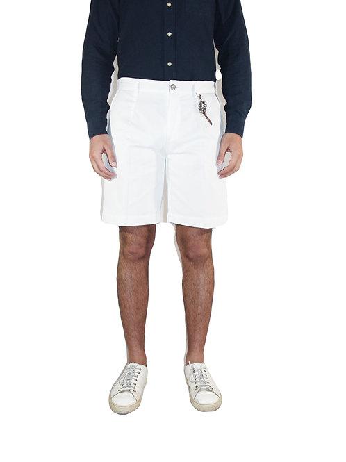 Pantalone corto slim fit una pence in cotone bianco R97 C-B