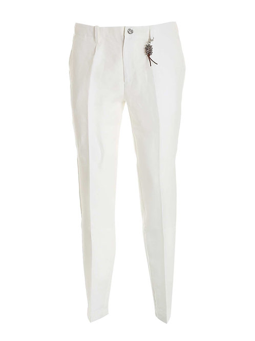 R92 L-BI Pantalone una pence lino bianco
