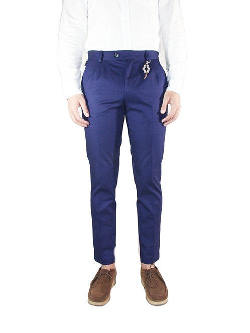 Pantalone slim fit doppia pences in cotone blu Capri R101 C-BC