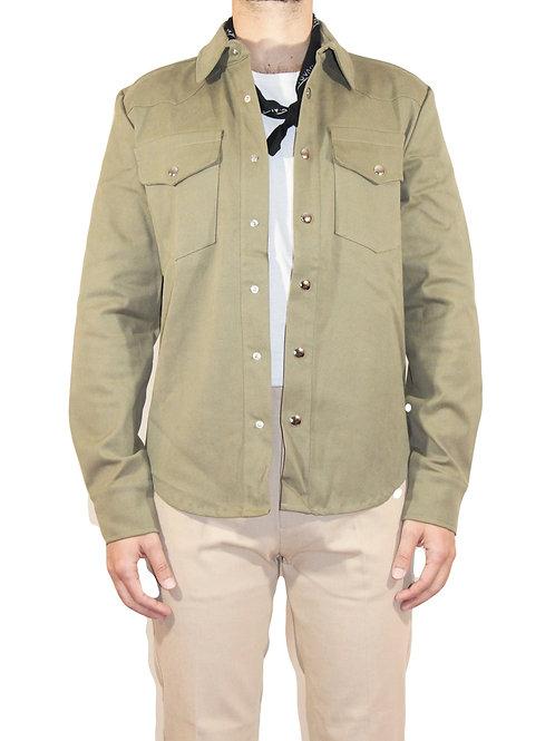Camicia Western cotone verde R105 C-V3
