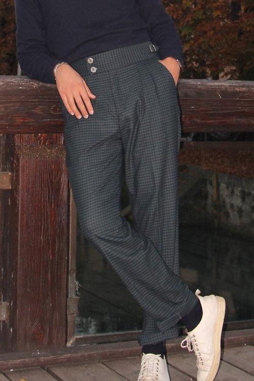 Pantalone Tailor doppia pences classic fit lana pied de poule