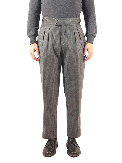 R107 LA-GG Pantalone classic fit lana gessato grigio