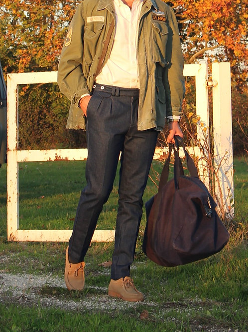Pantalone doppia pences slim fit denim blu indaco R96 D-BI01
