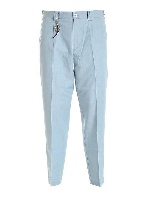 R100 D-CE Pantalone relaxed fit cotone celeste