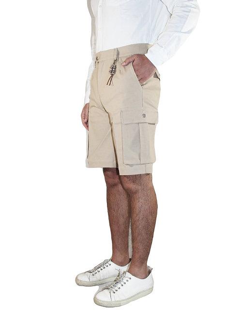 Pantalone cargo doppia pences corto in denim orzo R108 D-OR