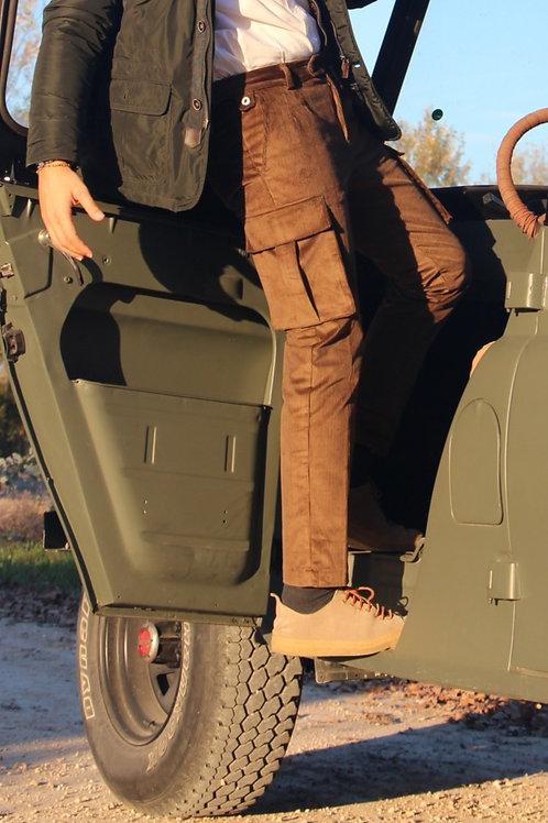 Pantalone cargo slim fit velluto marrone R102 V-MA