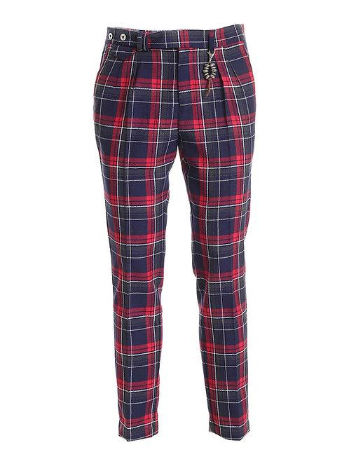 R96 LA-SC Pantalone doppia pences slim fitlana scozzese