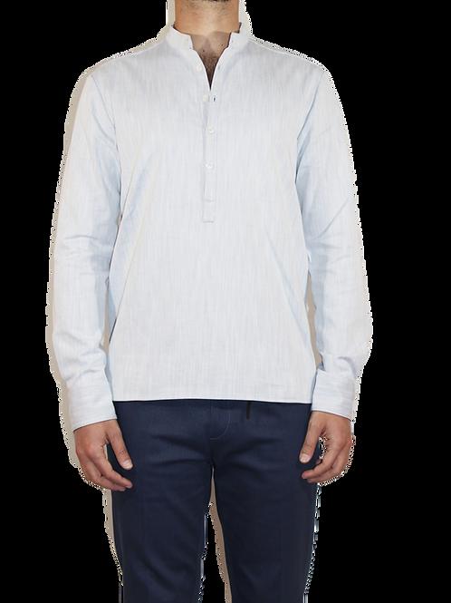 Camicia serafino in cotone celeste