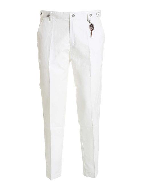 R106 L-BI Pantalone lino bianco