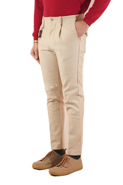 R94 D-BE Pantalone una pence slim fit denim beige
