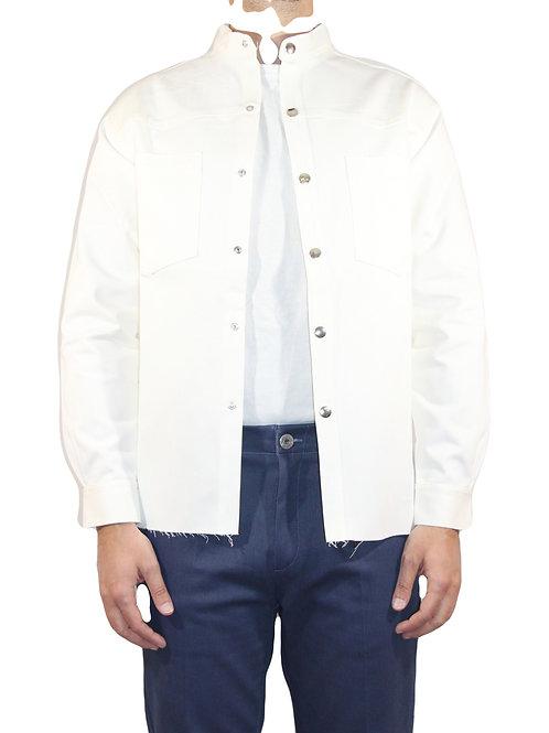 Camicia Western taglio vivo denim bianco CAM01 D-B