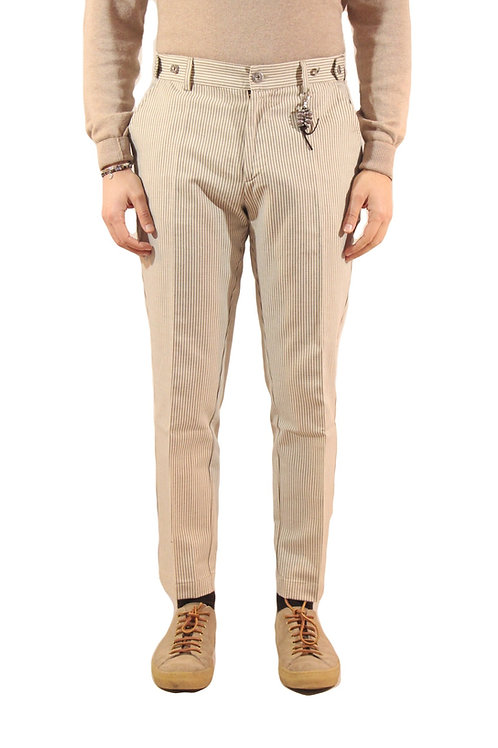 R106 C-BRS Pantalone slim fit gessato bianco/beige