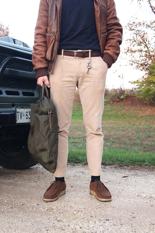 Pantalone slim fit una pence velluto coste beige  R92 V-BE