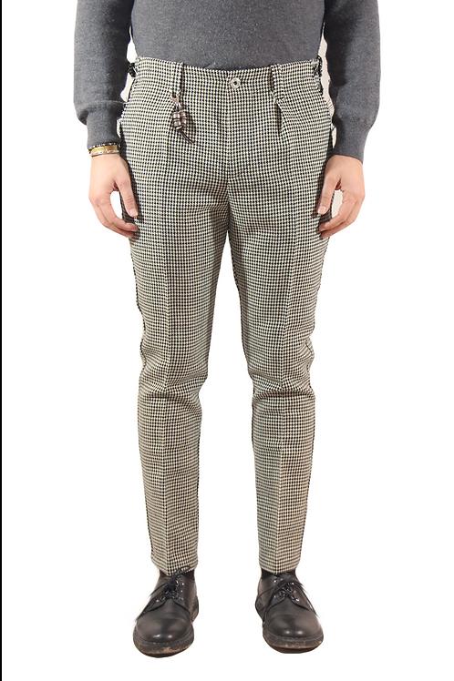 R103 LA-PN Pantalone taglio vivo slim fit lana pied de poule grigi