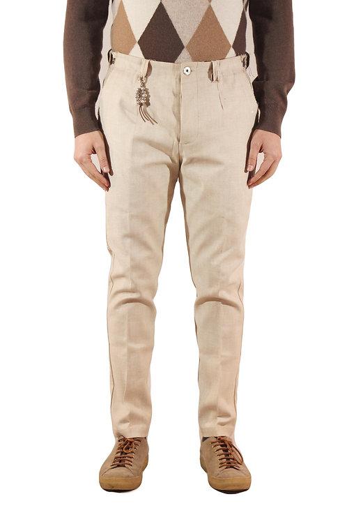 R103 D-BE Pantalone slim fit una pence taglio vivo denim beige