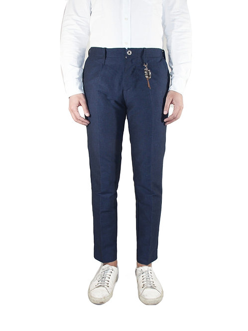 Slim fit trousers in blue polka dot linen R92 L-BP