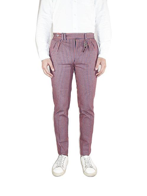 Pantalone doppia pences slim fit denim righe rosso blu R96 D-RR