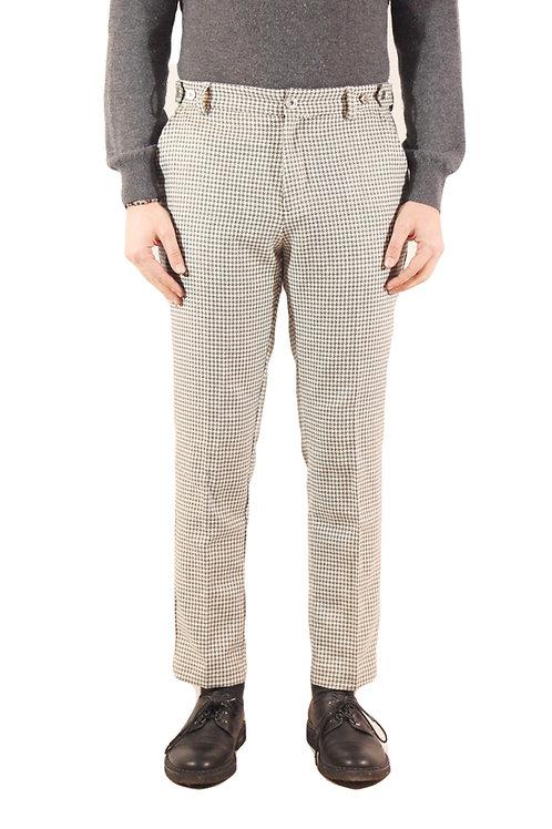 R106 LA-PG Pantalone slim fit lana pied de poule grigio/bianco