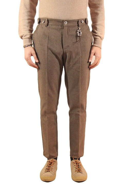 R106 C-M2 Pantalone slim fit microfantasia marrone