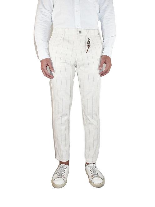 Pantalone una pence slim fit denim bianco quadrati R92 D-BR