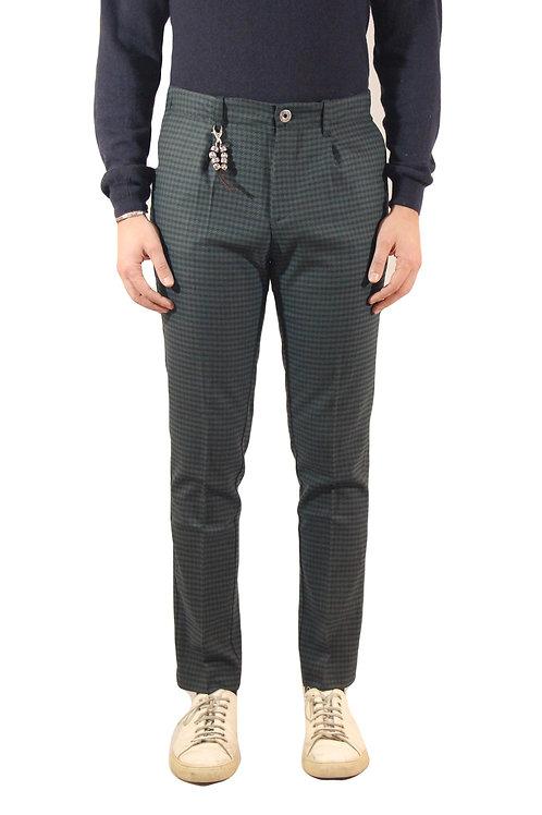 R92 LA-QU Pantalone slim fit lana pied de poule verde blu