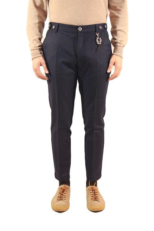 R106 LA-BLG Pantalone slim fit blu gessato leggero