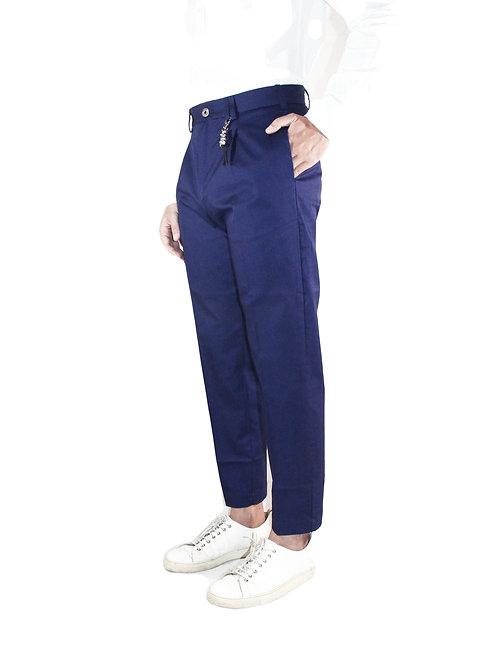 Pantalone comfort fit una pence in cotone blu Navy R100 C-BN