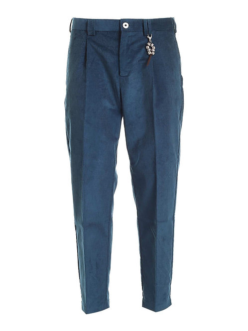 R100 V-BL Pantalone relaxed fit velluto blu