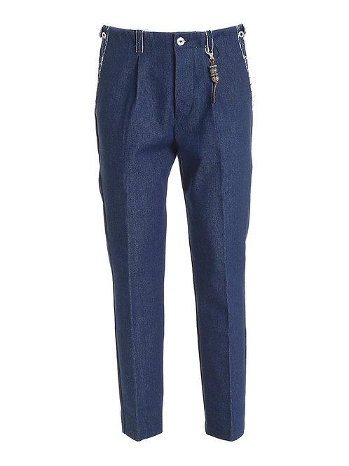 R103 D-BI01 Pantalone taglio a vivo una pence denim blu
