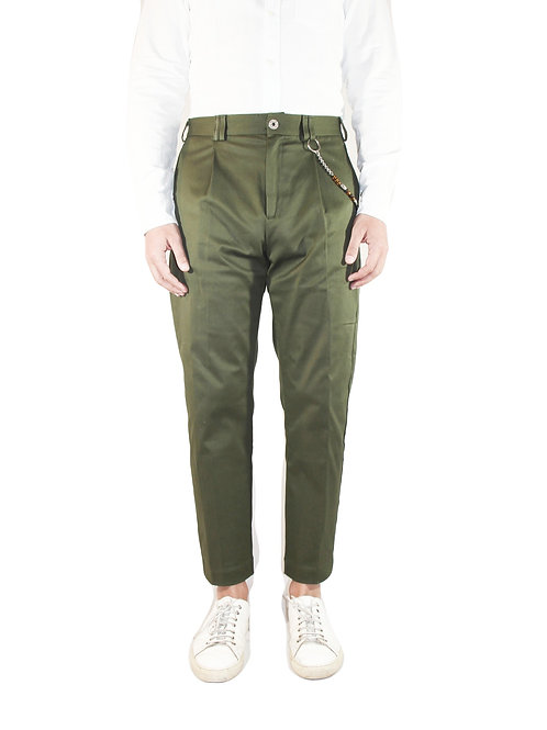 Pantalone comfort fit cotone verde militare R100 C-V