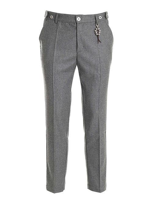 R106 LA-GG Pantalone lana gessato grigio