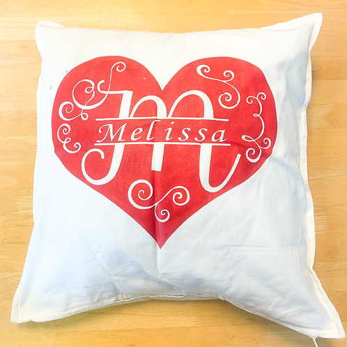 Monogram Heart Pillow