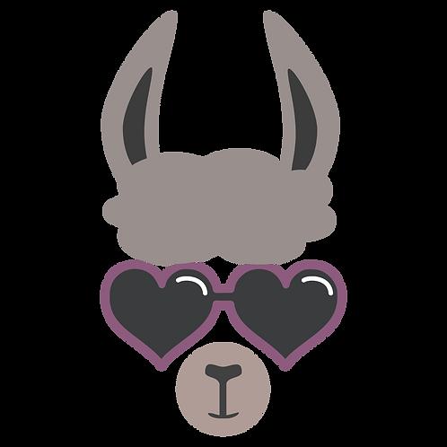 Llama w/Heart Sun Glasses Stencil