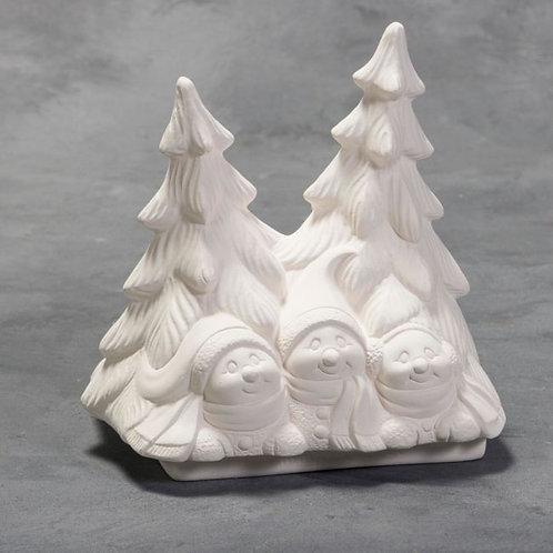 """Snow folks with trees - 6""""H x 4.5""""W x 6.25""""L"""