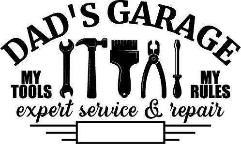 """""""Dad's Garage"""" Tools Stencil"""