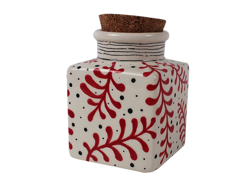"Cork top canister - 3"" L x 3"" W x 4 ⅛"" H (12 ounces)"