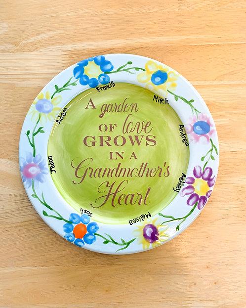 Fingerprint Flower Plate – A garden of love grows in a Grandmother's Heart