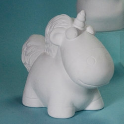 Fluffy unicorn bank - 8in H x 9.5in L