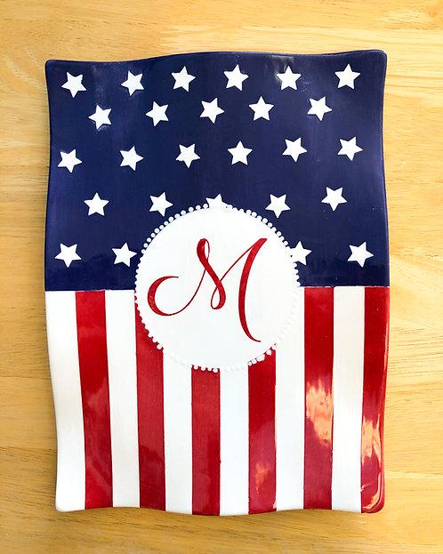 Monogram Flag Plate