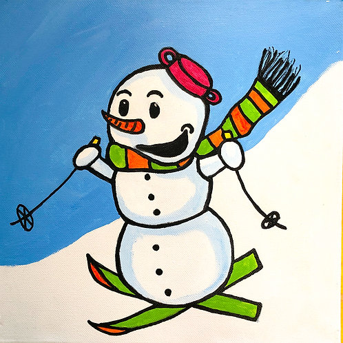 Snowman Skiing Canvas