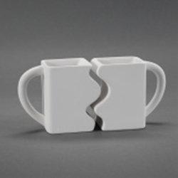 Puzzle mug set of two - 3.5 X 5.25 X 4.5
