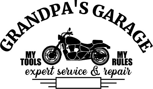 """Grandpa's Garage"" Motorcycle Stencil"