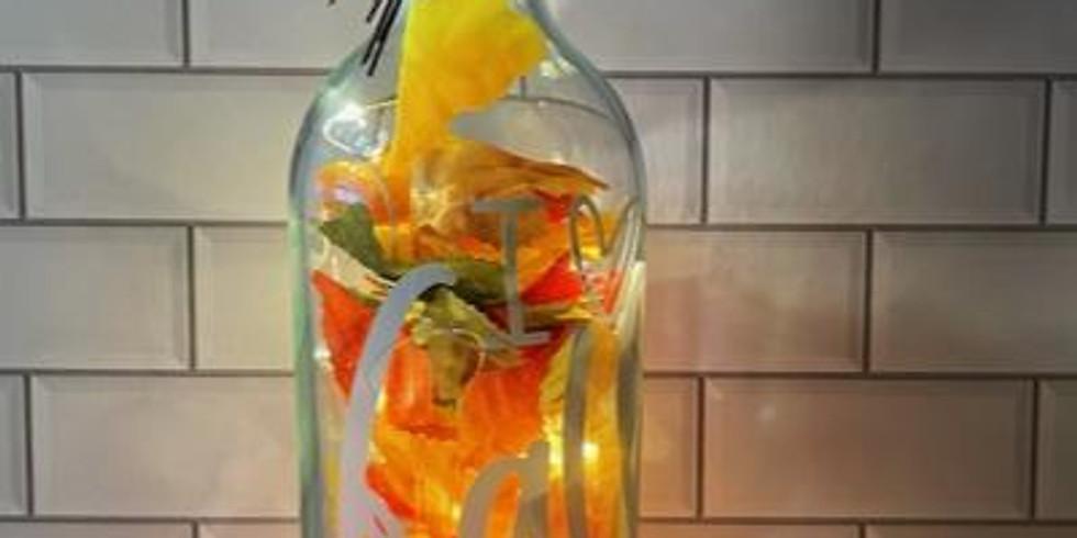 Lighted glass bottle