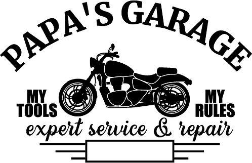 """Papa's Garage"" Motorcycle Stencil"