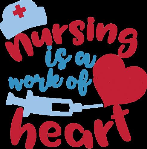 """Nursing is a Work of Heart"" Stencil"