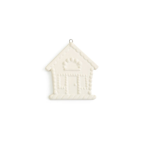 Flat gingerbread house ornament - 3.35H x 3.25W