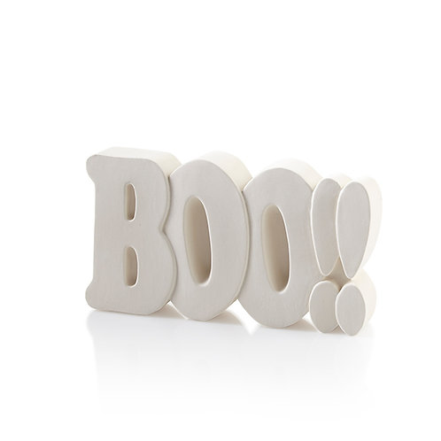 BOO word plaque - 4.25H x 7.5L