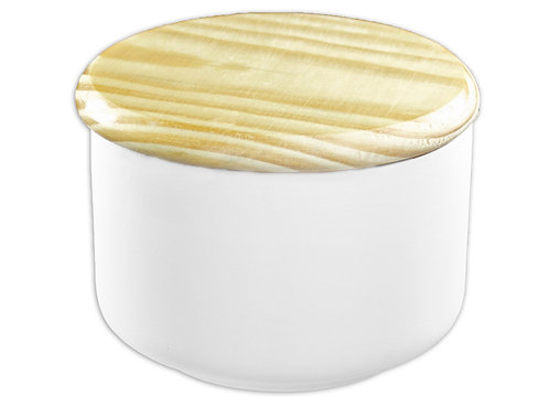 "Medium modern canister with wooden top - 4"" Dia. x 2 ¾"" H  (12 ounces)"
