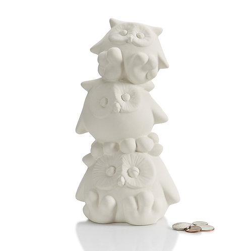 Stack of owls bank  - 5W x 9H