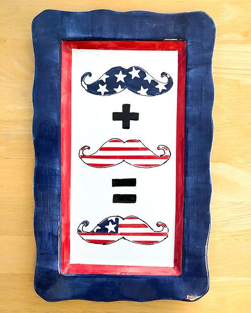Patriotic Mustache Plate